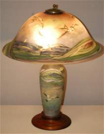 Signed Pairpoint Sea Gull Table Lamp
