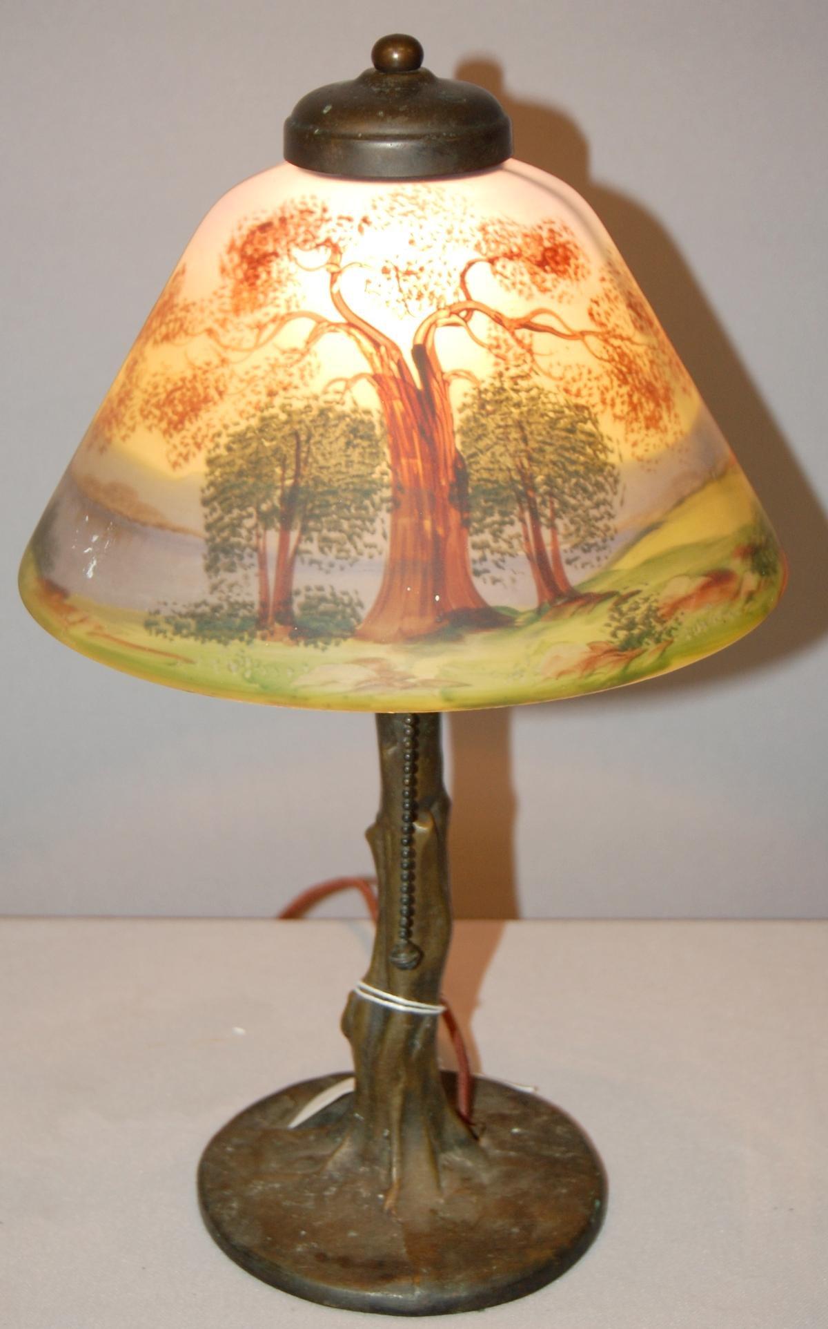 Signed Handel Tree Trunk Bourdoir Lamp