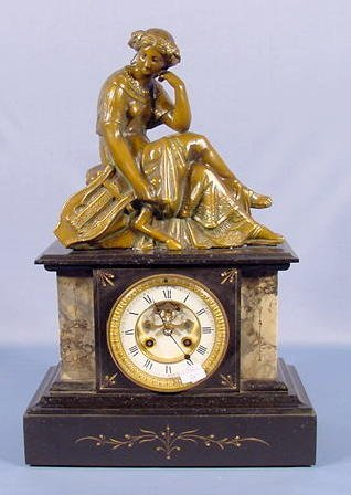 14: French Slate & Marble Clock w/Lady Musician