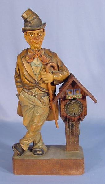 21: European Carved Wood Whistler Clock
