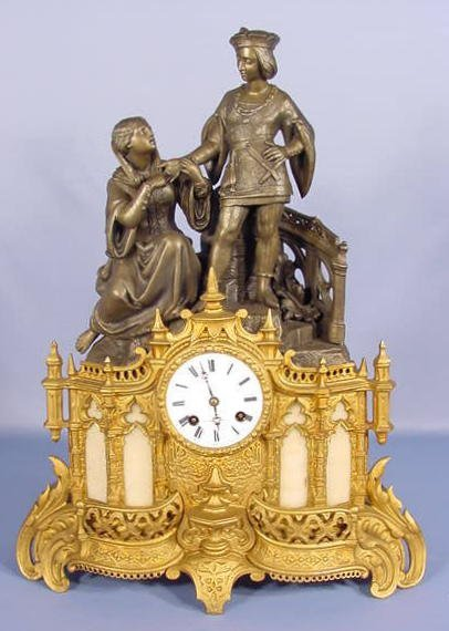 22: French Courting Couple Figural Statue Clock