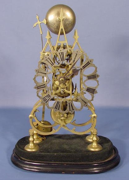 29: Eng. Brass Skeleton Clock w/Single Fusee Movement