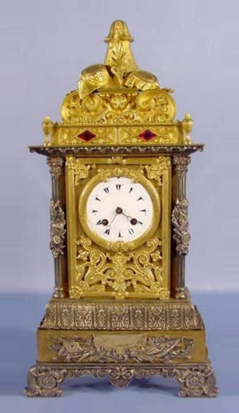 30: French Dore Metal Egyptian Jeweled Mantle Clock