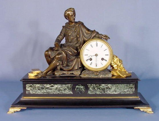 33: Japy Freres French Dore Statue Clock
