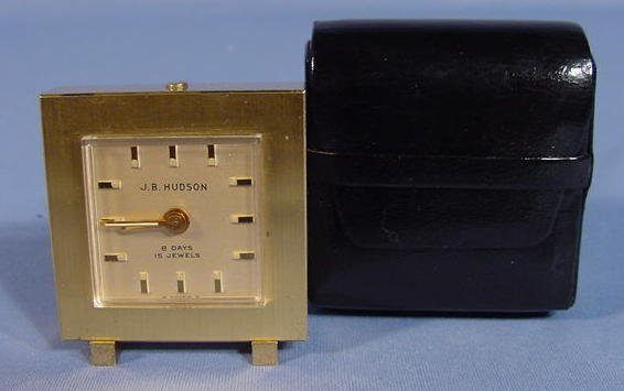 2009B: Swiss J B Hudson Alarm Clock In Case