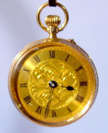 2015: Ladies 14K Gold Pocket Watch with Case