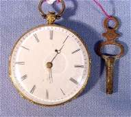 2070C: French 18K Gold & Enamel Ladies Pocket Watch