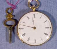 2071C: French 18K Gold & Enamel Ladies Pocket Watch