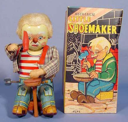 506: Mechanical Little Shoemaker Wind Up Toy w/ Box