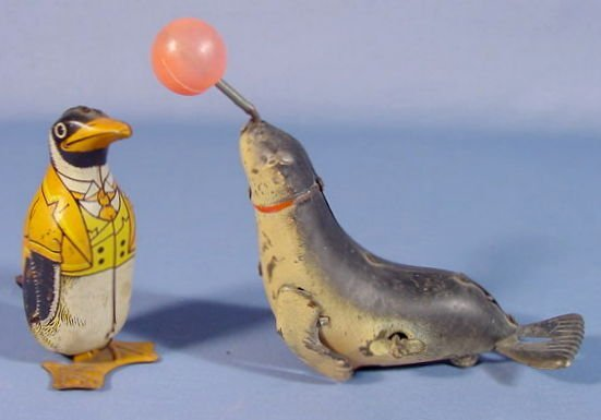 507: 2 Tin Wind Up Toys: Chein Penguin & Japan Seal