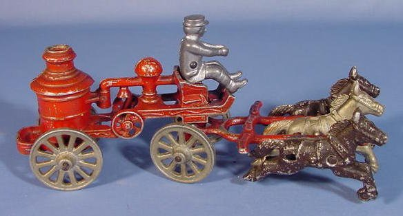 513: Horse Drawn Toy Fire Wagon w/Driver