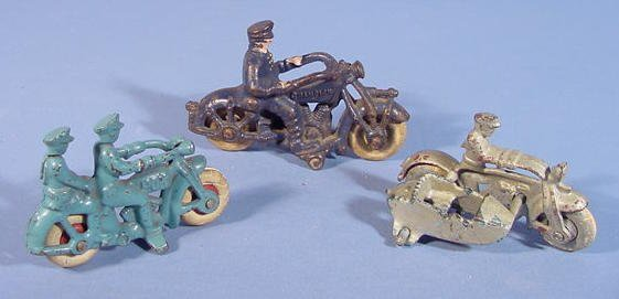 519: Three Cast Iron Toy Motorcycles - 2