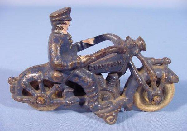 519: Three Cast Iron Toy Motorcycles - 5