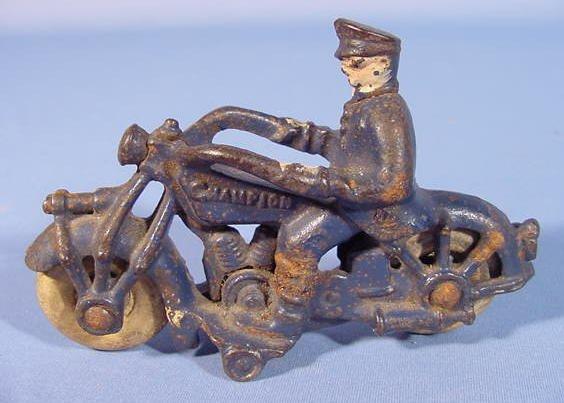 519: Three Cast Iron Toy Motorcycles - 6