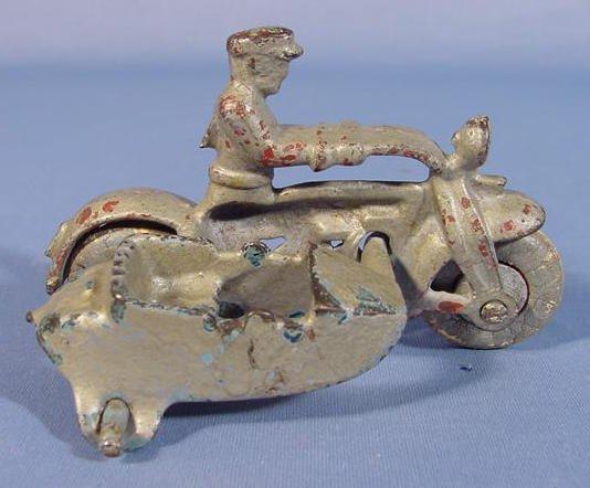 519: Three Cast Iron Toy Motorcycles - 7