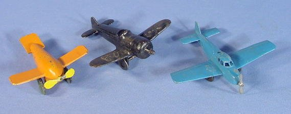 521: Three Small Cast Iron Toy Airplanes, Kilgore