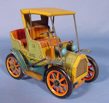523: Japanese Tin Lever Action Car w/Open Back Seat