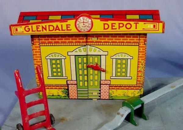 "525: Marx Toy Tin Litho ""Glendale Depot"" - 2"