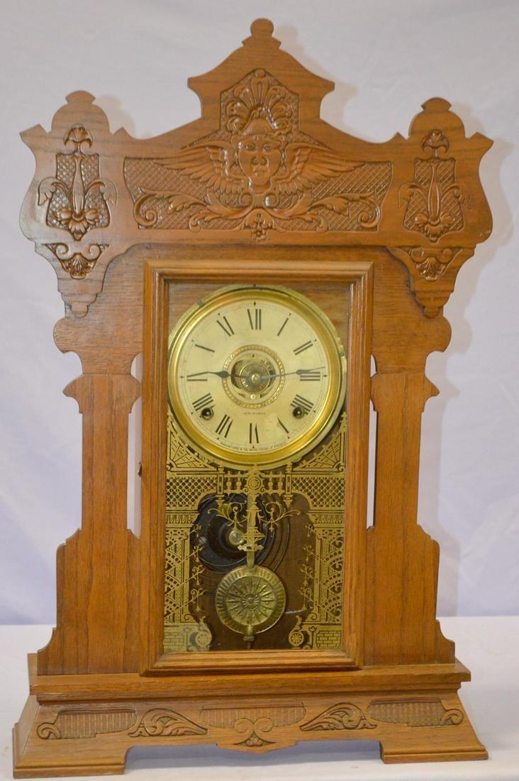 """Antique Seth Thomas Oak """"Giant"""" Kitchen Clock"""