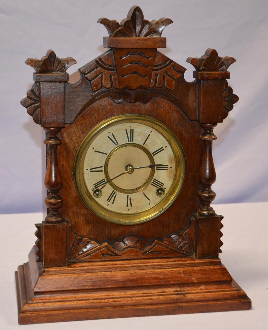 "Ansonia Oak ""Tivoli"" Cabinet Clock: T&S, unsigned paper"
