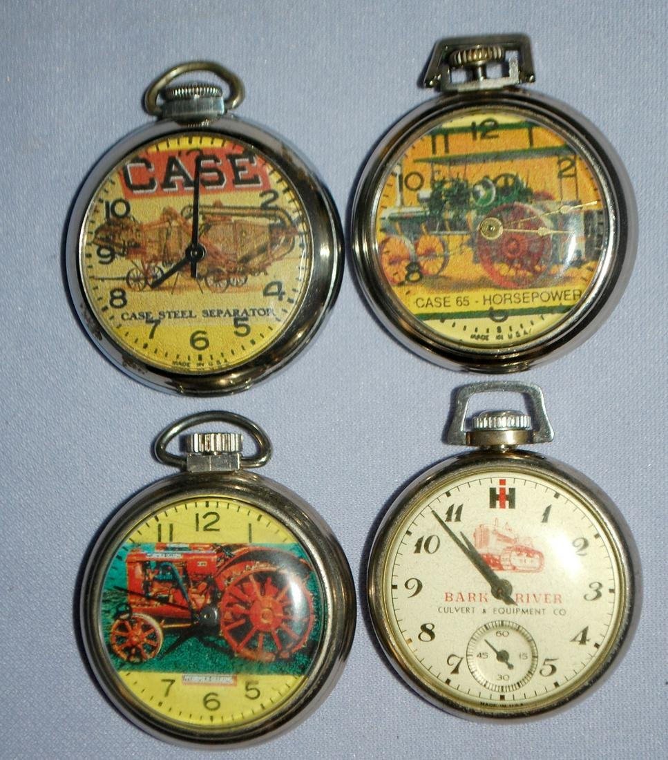 4 $1.00 Tractor & Implement O.F. Pocket Watches: 1.)