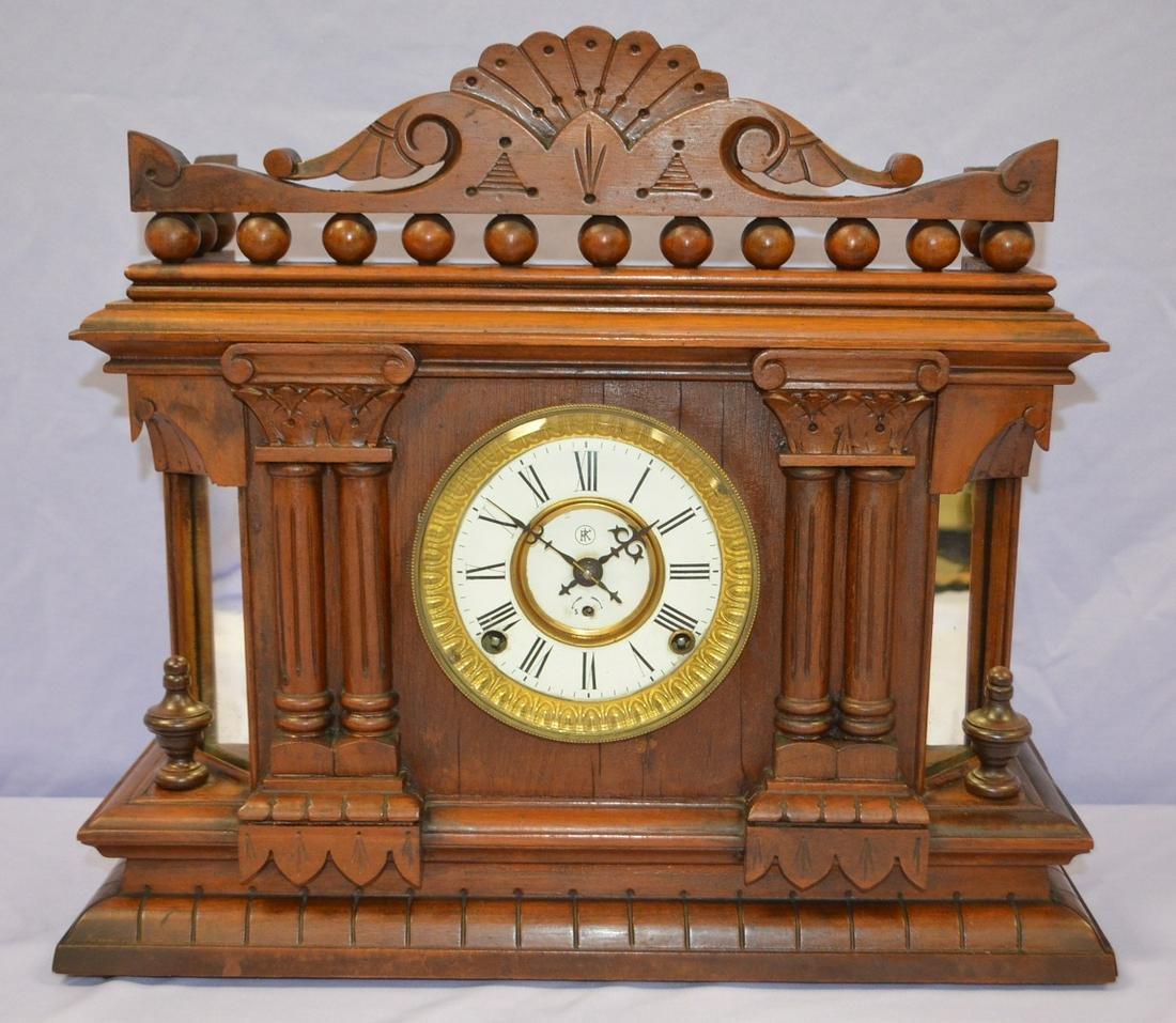 "Antique Kroeber ""Cabinet No.61"" Clock: walnut case in"