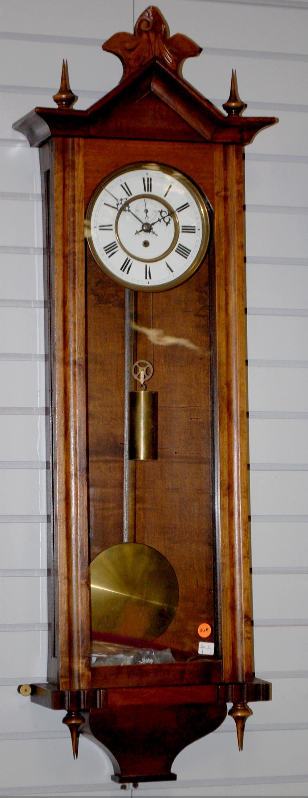 "Walnut 1 Wieght Vienna Regulator. T/O, 7"" unsigned"