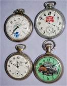 4 Railroad Pocket Watches, Elgin and Others. 1.) Elgin