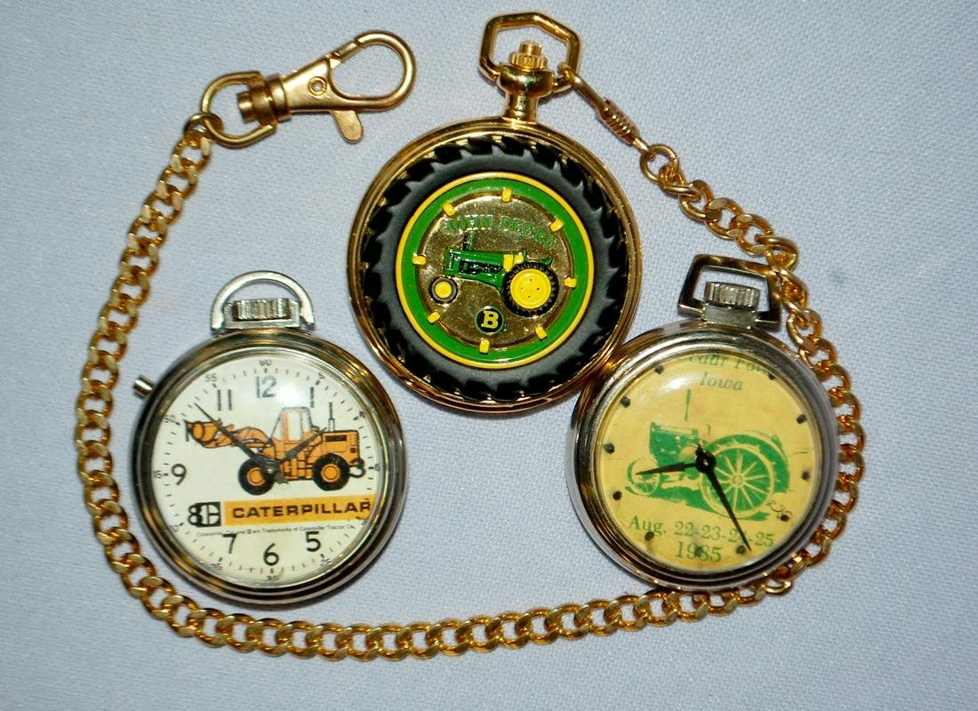 4 Tractor & Implement Pocket Watches: 1.) Franklin Mint