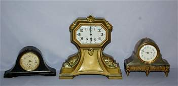 3 Vintage Novelty Desk Clocks. 1.) Cast case with New