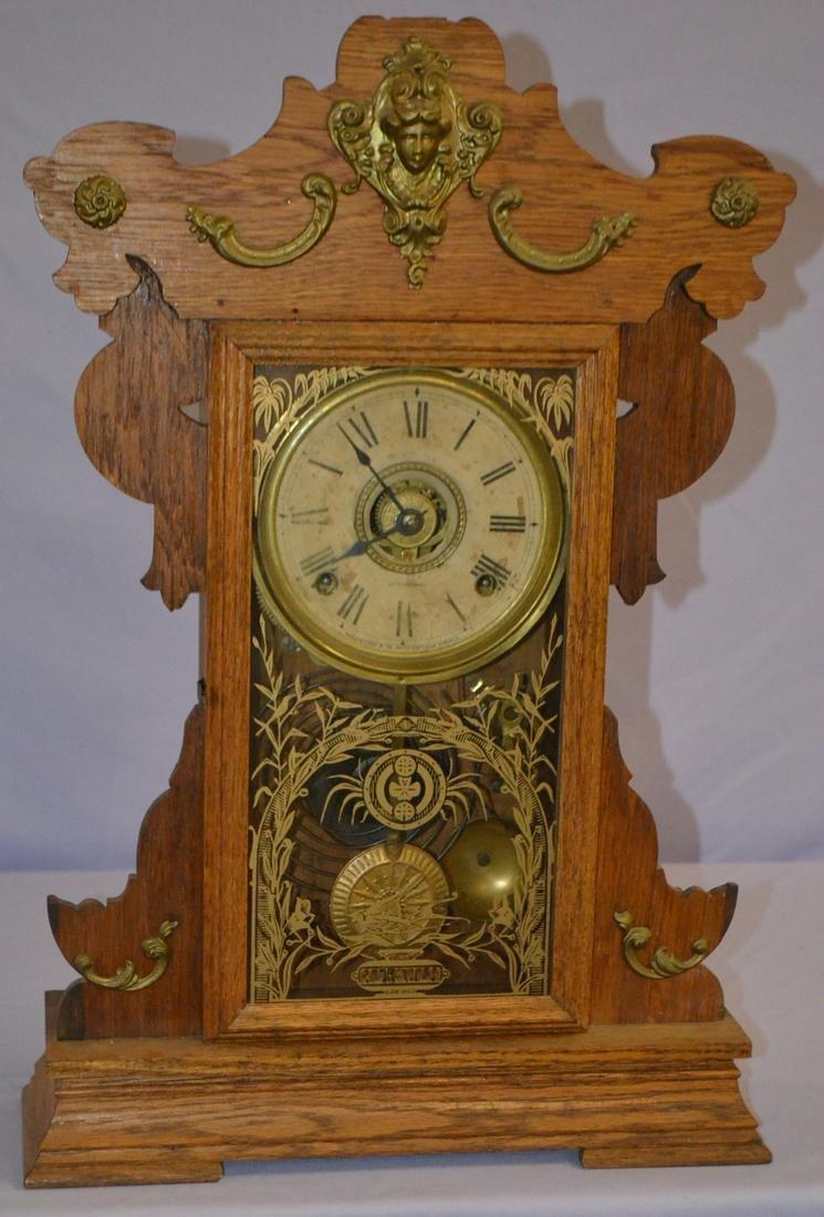 Antique Seth Thomas Oak Kitchen Clock: T & S with alarm;