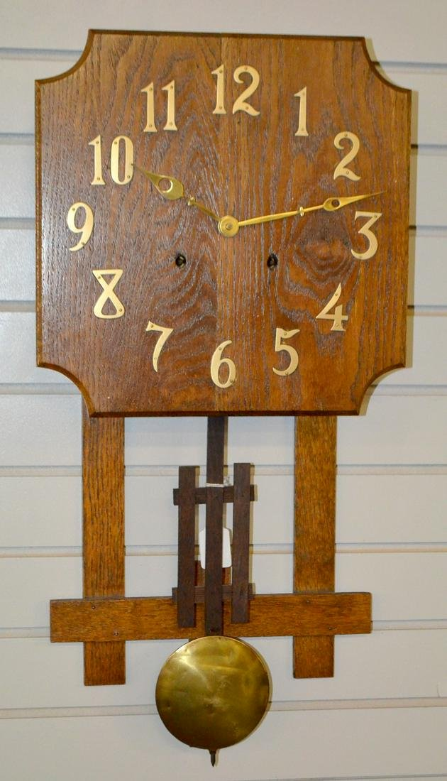 Antique Missions Style Wall Clock. Oak case with metal