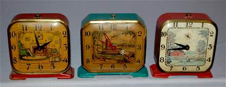 3 Vintage Lux Clock Co Wind Up Clocks 1 Country