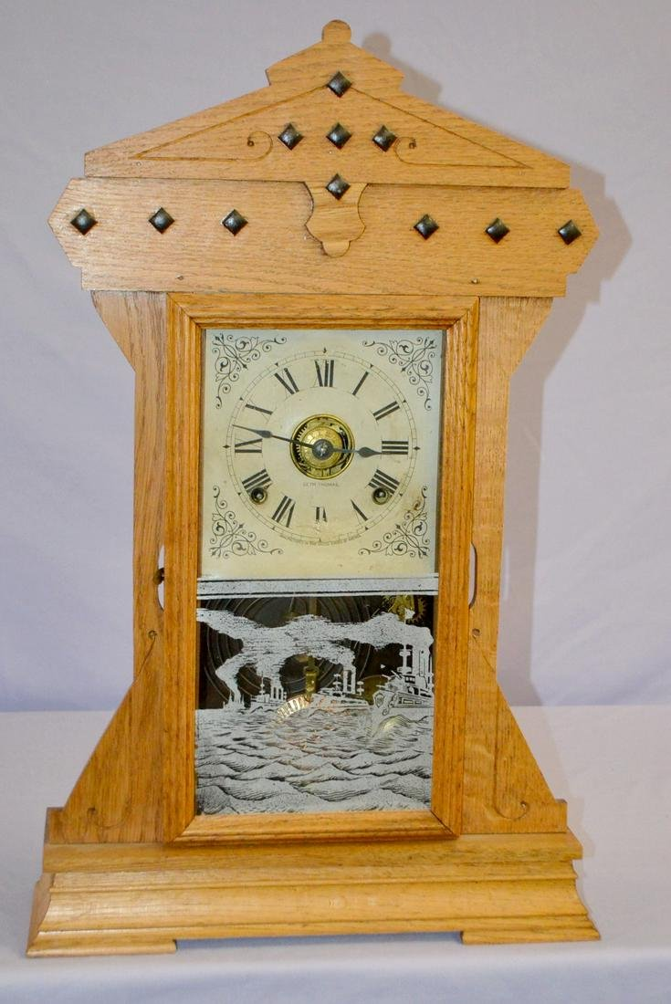 Antique Seth Thomas Fleet Series Mantel Clock. Oak case