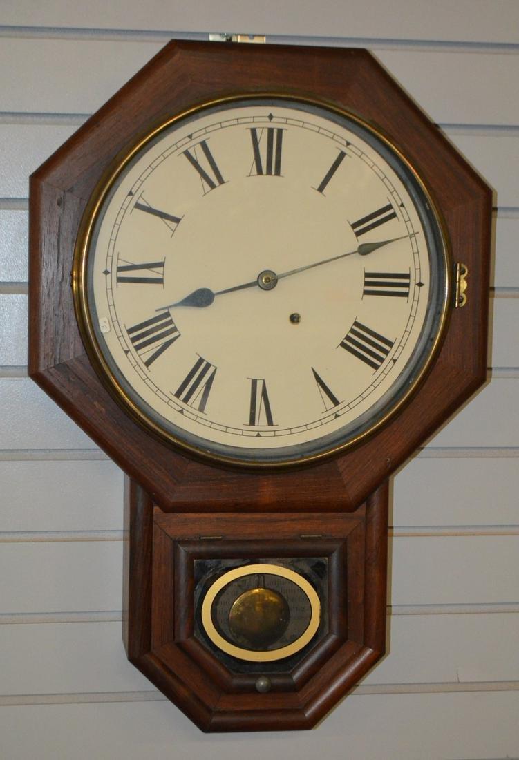 Antique Seth Thomas Octogon Short Drop Clock. Mahogany