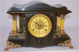 Seth Thomas Mantel Clock w Adamantine  Enameled Wood