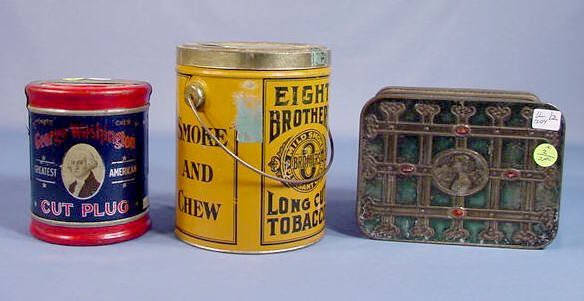 2: 3 Full Size Advertising Tobacco Tins