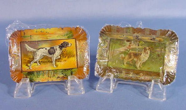 5: 2 Metal Tip Trays w/Dogs: Collie & Pointer