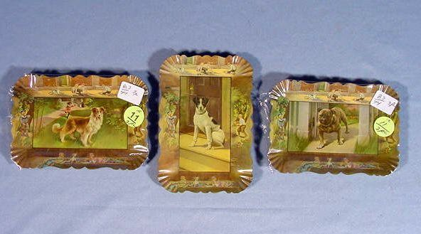 11: 3 Tip Trays w/Dogs: Bulldog, Collie & a Terrier