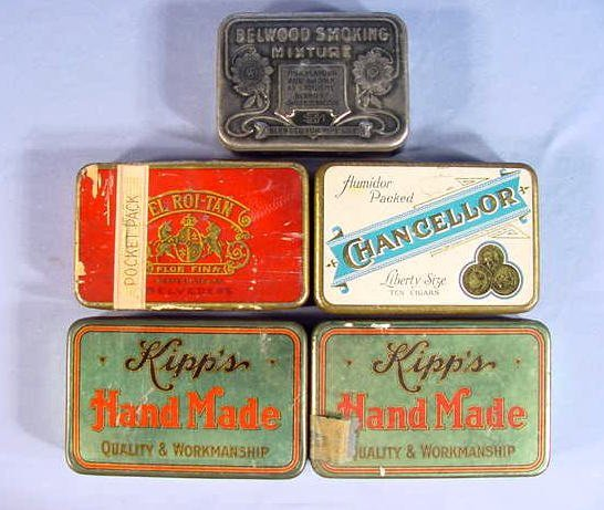 13: 4 Cigar & 1 Tobacco Tin Containers