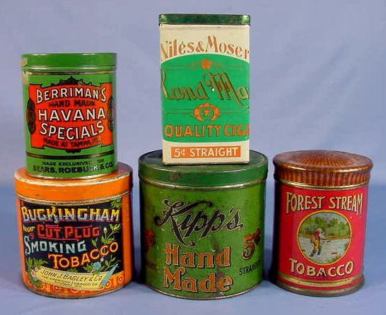 14: 5 Tin Advertising Tobacco Cans