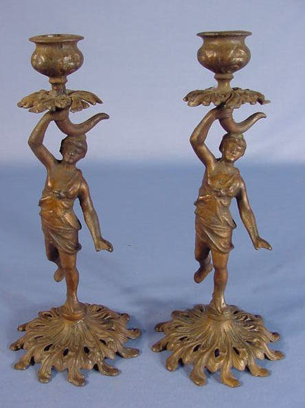 18: Pair Victorian Cast Iron Figural Candle Sticks