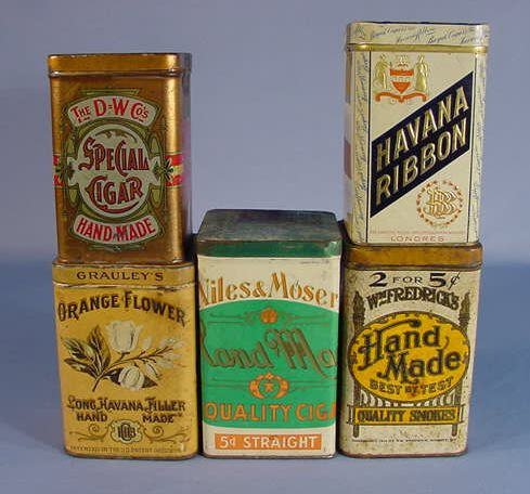 25: 5 Tin Advertising Cigar Containers