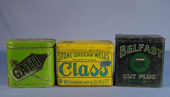 26: 3 Tin Advertising Tobacco Containers