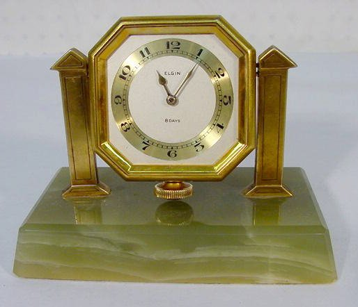 507: Elgin Stem Wind Desk Clock on Green Onyx Base