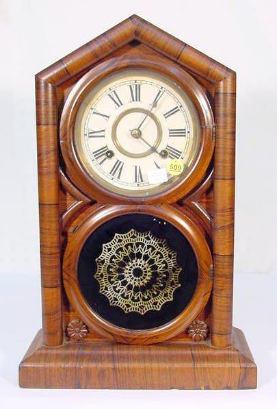 509: Rosewood Veneer Mantel Clock w/Figure 8 Door