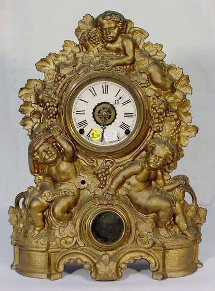 516: Muller Iron Front Bacchus Shelf Clock