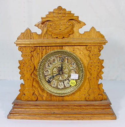 520: Ingraham Oak Front Shelf Clock