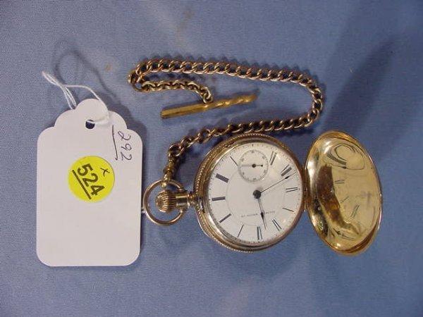 524: Illinois Miller Model Pocket Watch: S18, 18K, hunt