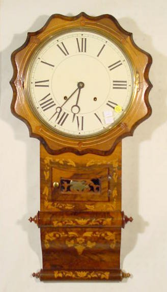 633: E.N. Welch Inlaid Scroll Bottom Wall Clock